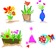Floral icons. Cheerful floral designs, each can be used separately royalty free illustration