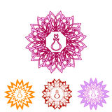 Floral icons set with perfume Royalty Free Stock Photography