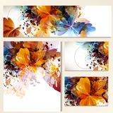 Floral identity templates with abstract foliage for design Stock Images