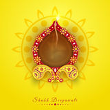 Floral illuminated lit lamp for Happy Diwali celebration. Royalty Free Stock Photo