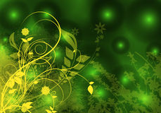 Floral illustration. On green background Royalty Free Stock Photography