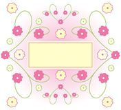 Floral Illustration. Pink and yellow floral frame with yellow rectangular space in center Royalty Free Illustration