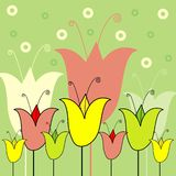 Floral illustration. Decorative spring design with flowers Stock Illustration