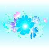 Floral illustration background. Abstract colorful background with flowers. Floral illustration Stock Photo