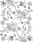 Floral illustration in black and white Stock Photos