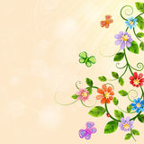 Floral illustration with colorful flowers. Stock Photography