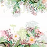 Floral illustration with field flowers in vintage. Style Stock Photography