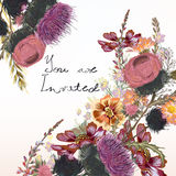 Floral illustration or invitation with field flowers in vintage royalty free illustration