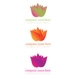 Floral illustration logo in a variety of colors. With gradients Stock Image