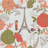 Floral illustration of romantic Paris Stock Photo