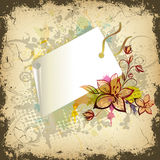Floral illustration with shopping tag Royalty Free Stock Image