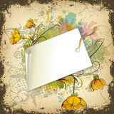 Floral illustration with shopping tag Stock Photos