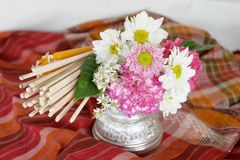Floral incense candle thai culture Royalty Free Stock Images