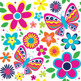 Floral inconsútil con la mariposa y las flores lindas Imagen de archivo