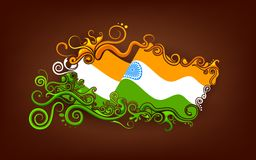 Floral Indian Flag. Illustration of abstract floral Indian flag Vector Illustration