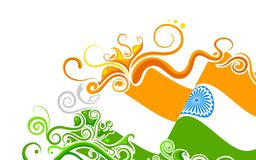 Floral Indian Flag. Illustration of abstract floral Indian flag Royalty Free Illustration