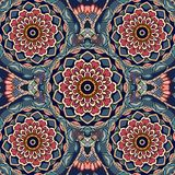 Floral indian pattern with red lotus flower.  vector illustration