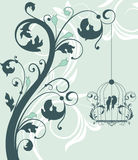 Floral invitation card with bird Royalty Free Stock Photography