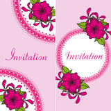 Floral invitation card with bright flowers Royalty Free Stock Image