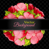 Floral invitation card with flowers peony template Stock Image