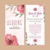 Floral wedding invitation card watercolor illustration stock photo