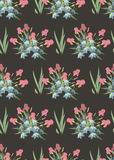 Floral Iris and bell flowers retro vintage background Royalty Free Stock Photography
