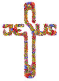 Floral Jesus isolated cross Stock Photo