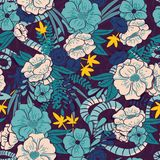 Floral jungle with snakes seamless pattern, tropical flowers and leaves, botanical hand drawn vibrant Royalty Free Stock Images