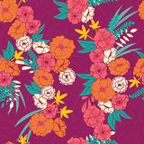 Floral jungle with snakes seamless pattern, tropical flowers and leaves, botanical hand drawn vibrant Royalty Free Stock Photography