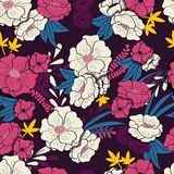 Floral jungle with snakes seamless pattern, tropical flowers and leaves, botanical hand drawn vibrant Royalty Free Stock Image
