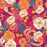 Floral jungle with snakes seamless pattern, tropical flowers and leaves, botanical hand drawn vibrant royalty free illustration