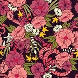 Floral jungle with snakes seamless pattern, tropical flowers and leaves, botanical hand drawn vibrant Stock Images