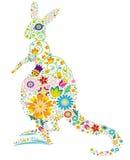 Floral kangaroo. A kangaroo design made with colorful flowers Royalty Free Stock Photo
