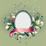 Floral label. With leafs and banner, vector illustration Royalty Free Stock Photo