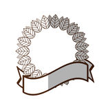 Floral label leaves decorative frame shadow Stock Images