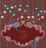 Floral label for Valentine holiday, dark color royalty free illustration