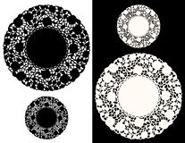Floral Lace Doily. Vintage place mats in small and large black and white versions for holidays, celebrations, arts and crafts, scrap books, decorating, sewing Stock Images