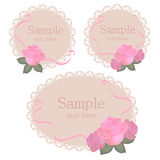 Floral lace frames with pink roses Royalty Free Stock Images