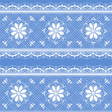 Floral lace pattern for design. Vector lace white on blue floral pattern for design Stock Photos