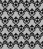 Floral lace pattern. Seamless black floral lace pattern on a white background Stock Image