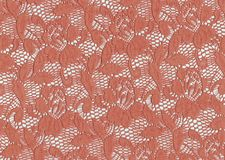 Floral lace, salmon color. Scan of a piece of lace , salmon color, floral for background stock photos