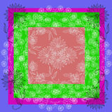 Floral lace. Silk neck scarf or bandana with beautiful flowers on colorful background. Stock Images