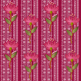 Floral lacy seamless pattern with flowers on pink Royalty Free Stock Image