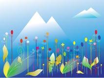 Floral with landscape background. Illustration royalty free illustration