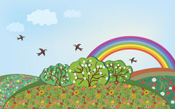 Floral landscape with rainbow Stock Images