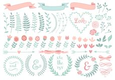 Floral laurel wreath,  set. Vintage floral laurel wreath set,  design elements Stock Photos