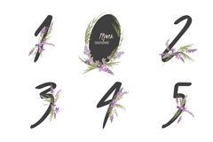 Floral lavender collection numbers in vintage color. One, two, three, four, five - signs vector Stock Images