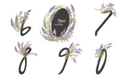 Floral lavender collection numbers in vintage color. Floral lavender  collection numbers in vintage color. Six, seven, eight, nine, zero- signs vector Royalty Free Stock Images