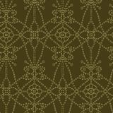 Floral leaf motif running stitch style. Victorian needlework seamless vector pattern. Hand stitch ornamental brocade textile print vector illustration