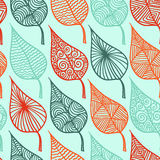 Floral leaf seamless pattern vector doodle. Royalty Free Stock Photo